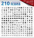 210 Icons. 210 Universal Icons for Web, Multimedia, Applications, Textile Labels. Travel, Warning, Zodiac and Planet Signs Stock Photo