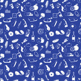 Icons used in supermarket white seamless. Placed on blue color background. In vector format Royalty Free Stock Image