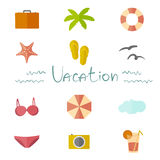 Icons vacation in a flat minimalist style. Icons vacation in a flat, minimalist style with the inscription style manual Stock Images