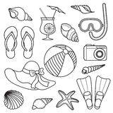 Icons vacation at sea. Outlined icons rest on the sea Royalty Free Stock Images