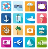 Icons vacation, tourism, sea, relaxation, colored flat. Stock Photo