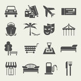 Icons vacation and travel in a flat style. Set of Icons vacation and travel in a flat style. Black on white Royalty Free Stock Photos