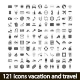 121 icons vacation and travel. Vector illustration Royalty Free Stock Photography
