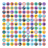 121 icons vacation and travel. Vector illustration Stock Image