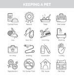 Icons for various aspects of keeping pets at home Stock Photos
