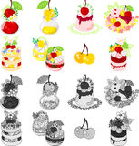 The icons of various cherry sweets Stock Images