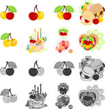 The icons of various cherry sweets Royalty Free Stock Image
