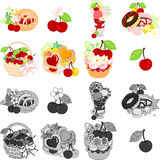 The icons of various cherry sweets Royalty Free Stock Photos