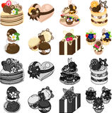 The icons of various chocolate sweets Stock Photo