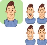 Icons with various facial expressions of a man 2. Stock Photo