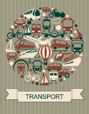 Icons of various means of transportation Stock Images