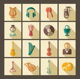 Icons of musical instruments. Icons of various musical instruments in retrostyle Royalty Free Stock Image
