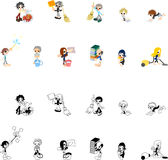 Icons of various people cleaning. Cute icons of various people cleaning Vector Illustration