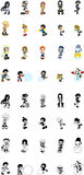 Icons of various people. Cute icons of various people Stock Illustration