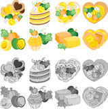 The icons of various pumpkin sweets Stock Photo