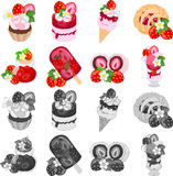 The icons of various strawberry sweets Royalty Free Stock Photos