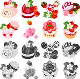 The icons of various strawberry sweets Royalty Free Stock Photo