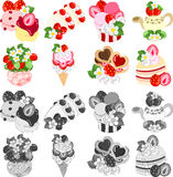 The icons of various strawberry sweets Royalty Free Stock Images