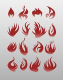 Icons vector flames . Fire icon set - security leads to prosperity. Icons vector flames, fire. Fire icon set - security leads to prosperity Stock Photos