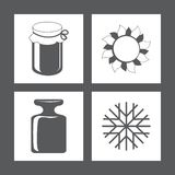 Icons. Vector illustration. Icons bank sun weight snowflake. Vector illustration Royalty Free Stock Photography