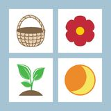 Icons. Vector illustration. Star sprout flower basket. Vector illustration Royalty Free Stock Images