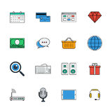 Icons vector set. Color line signs. Web Stock Photography
