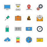 Icons vector set. Color line signs. Web. Elemens Royalty Free Stock Photography