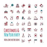Icons vector set - winter, christmas, holiday, party, birthday vector illustration