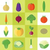Icons with vegetables in flat. Vector illustration. Vector set of food icons with vegetables in flat style for design stock illustration