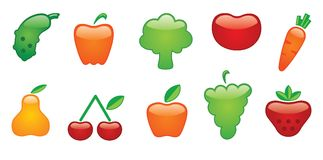 Icons of vegetables and fruit Royalty Free Stock Photos