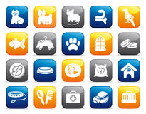 Pets care icon set on buttons Royalty Free Stock Photo