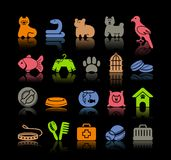 Pets care icon set. Icons on a veterinary science and care theme house pupils Stock Photo