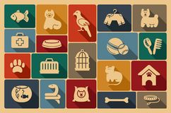 Pets care icon set Royalty Free Stock Photo