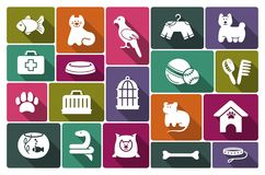 Pets care icon set. Icons on a veterinary science and care theme house pupils Royalty Free Stock Photo