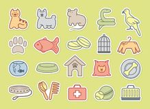 Pets care stickers Royalty Free Stock Photo