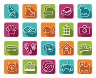Pets care icon set. Icons on a veterinary science and care theme house pupils Royalty Free Stock Image