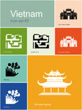 Icons of Vietnam. Landmarks of Vietnam. Set of color icons in Metro style. Editable vector illustration Royalty Free Stock Photography