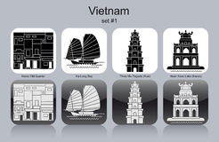 Icons of Vietnam. Landmarks of Vietnam. Set of monochrome icons. Editable vector illustration Royalty Free Stock Image