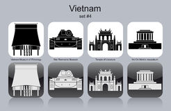 Icons of Vietnam. Landmarks of Vietnam. Set of monochrome icons. Editable vector illustration Royalty Free Stock Photo