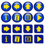 Icons for virtual tour, navigation buttons Stock Photo