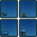 Icons with voice recorder, tv, photo and video cam Royalty Free Stock Photos