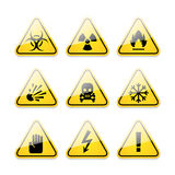 Icons warning signs of danger. Illustration icons warning signs of danger, format EPS 10 Royalty Free Stock Photo