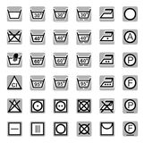 Icons, washing, bleaching, drying, Ironing, dry cleaning. Stock Photo