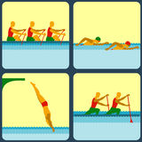 Icons with water sports Royalty Free Stock Images