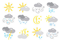 Icons -- weather. Vector illustration - a set of icons on the weather vector illustration