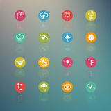 Icons weather  Circle Series on  Retina background Royalty Free Stock Images