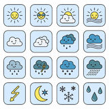 Icons weather. Merry weather icons. Cartoon style Stock Image