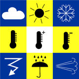 Icons with weather phenomena. Icons describing different weather and natural phenomenon Stock Illustration