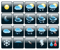 Icons Weather. Set of Icons on a theme Weather. Illustration Royalty Free Stock Photography