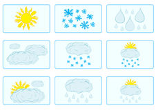 Icons with weather Stock Image